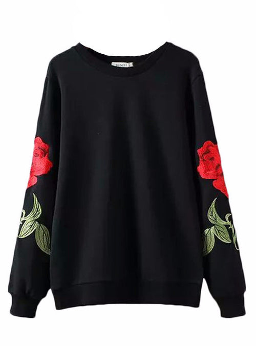 Rose Embroidered Pullover Sweater | Shop Elettra |