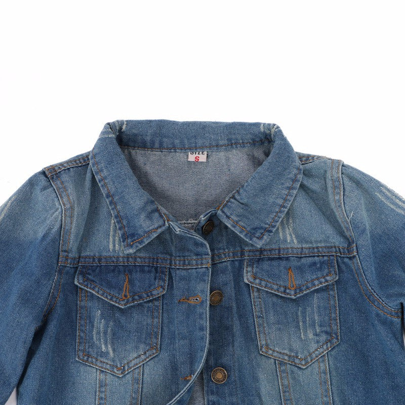 Medium Wash Cropped Denim Jacket | Shop Elettra |