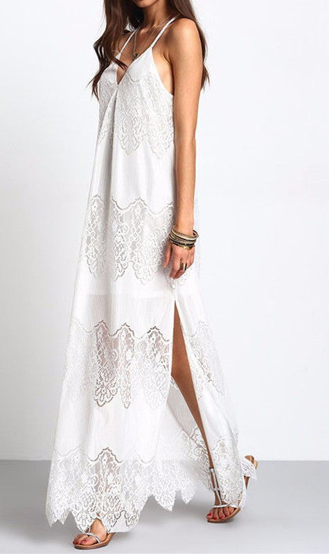 Lace Maxi Dress in White