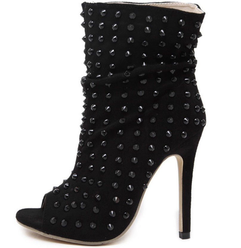 Spike On Studded Peep Toe Ankle Boot Stilettos | Shop Elettra |