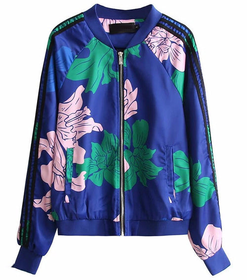 Blue Floral Bomber Jacket | Shop Elettra |
