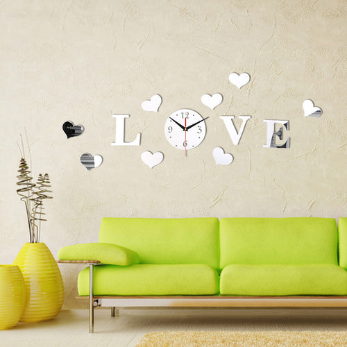 Love Clock Decal With Hearts Mirror Vinyl Sticker | Shop Elettra |