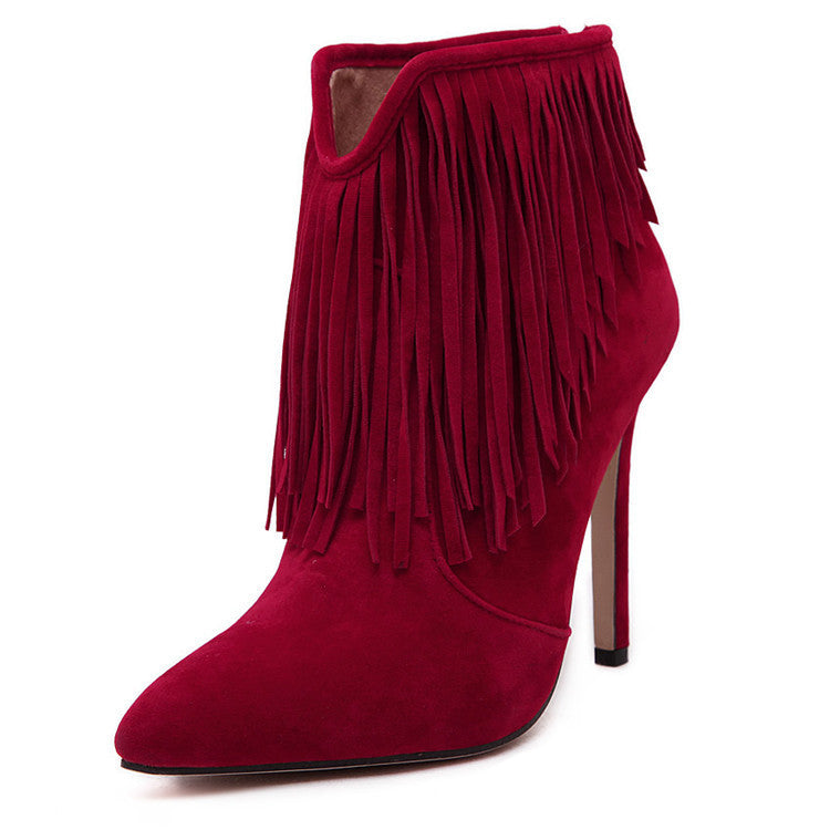 Wild West Fringe Suede Ankle Boot Stilettos | Shop Elettra |