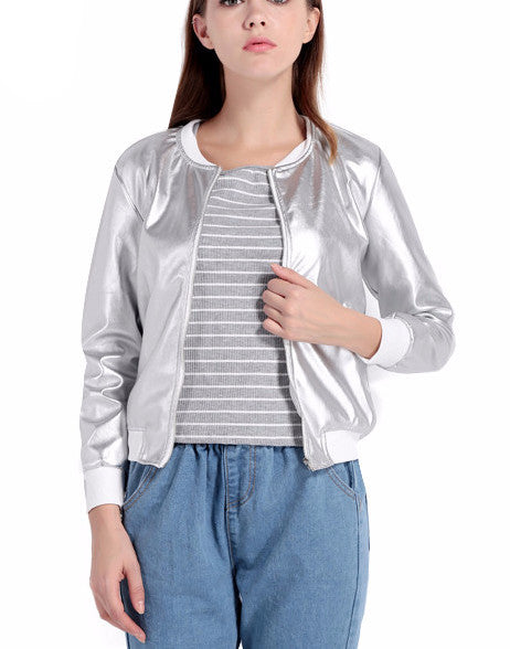 Gleam On Metallic Silver Bomber Jacket | Shop Elettra |