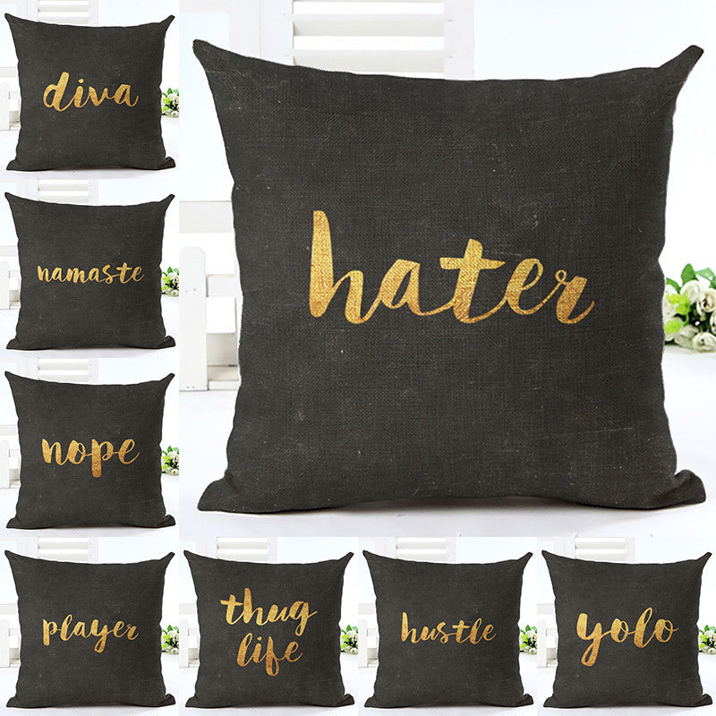 Talk to Me Black and Gold 18 x 18 Pillow Cover | Shop Elettra |