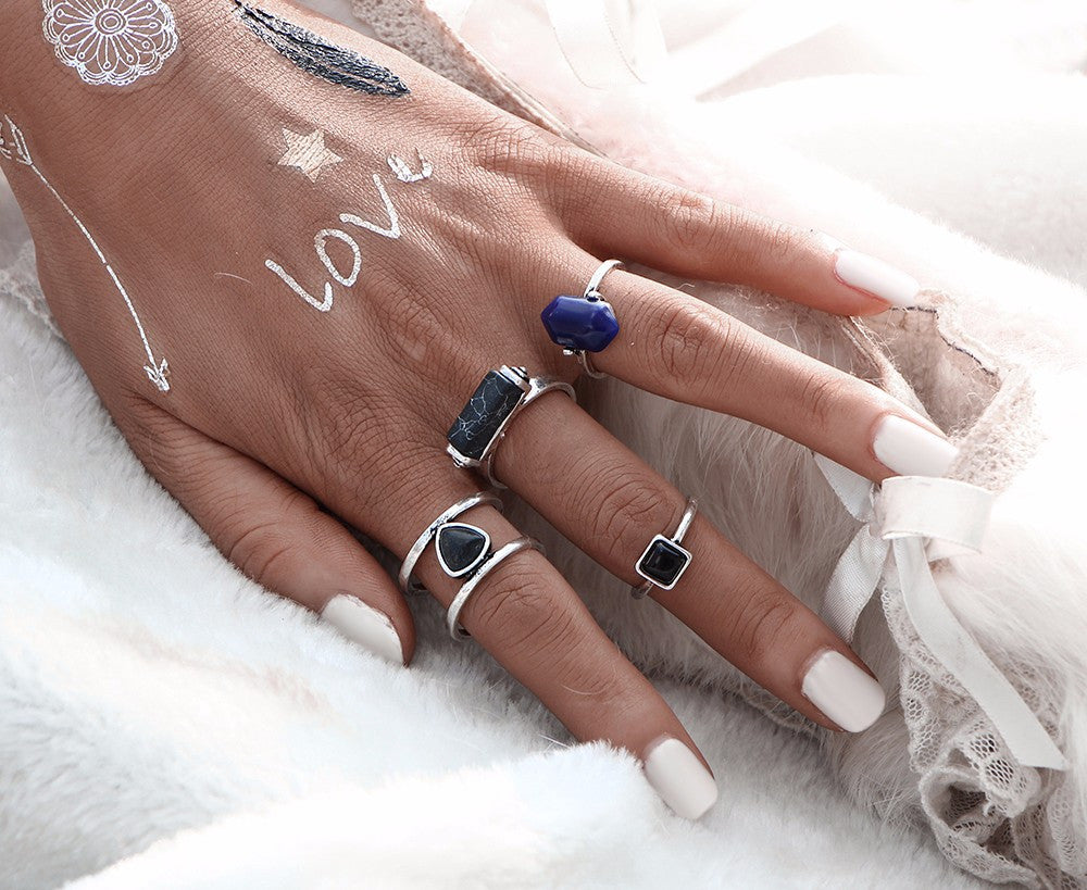 Sapphire Marble Boho Midi Ring Set in Gold | Shop Elettra |