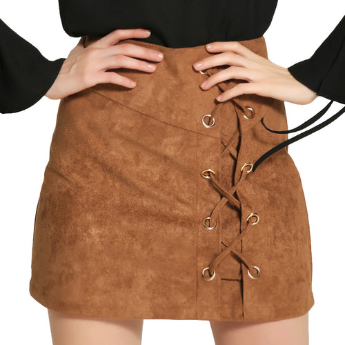 Suede Lace Up Mini Skirt | Shop Elettra |