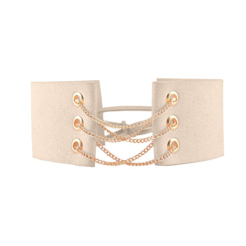 Ruzi Lace Up Chain Choker Necklace | Shop Elettra |