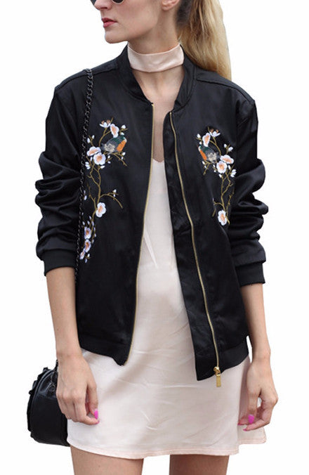 Floral Embroidered Bomber Jacket | Shop Elettra |