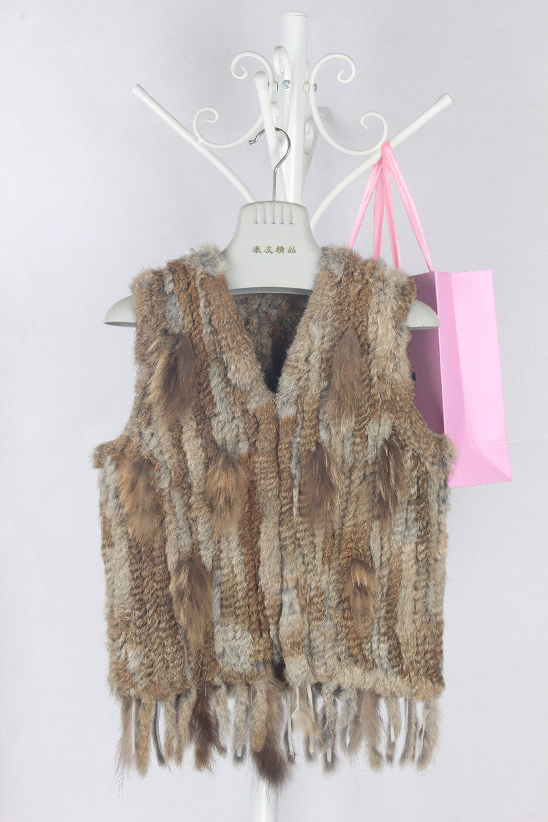 Vail Genuine Rabbit Fur Fringe Vest | Shop Elettra |