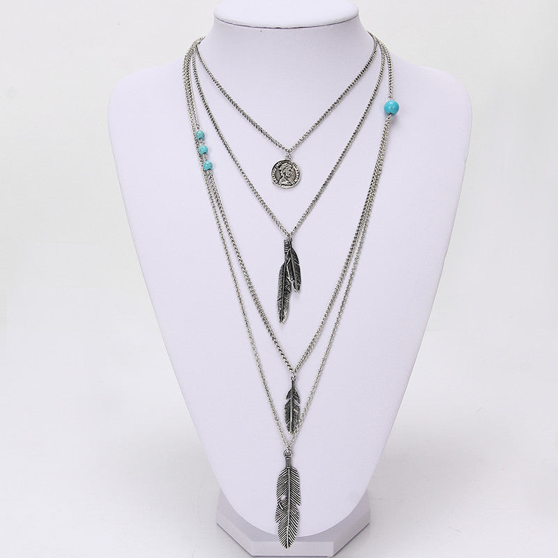 Feather Pendant Layered Necklace | Shop Elettra |