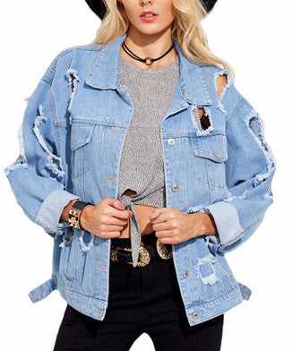 Destroyed Denim Jacket | Shop Elettra |