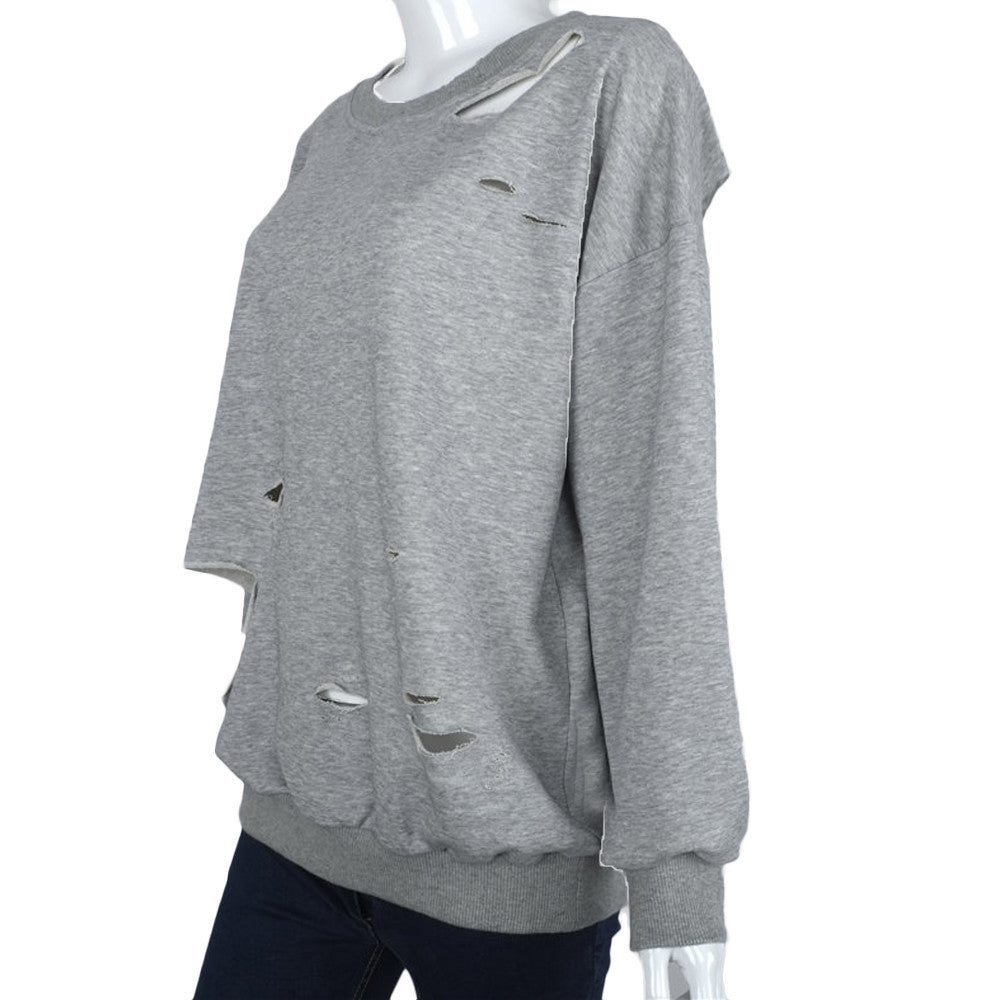 Ripped Pullover Sweatshirt | Shop Elettra |