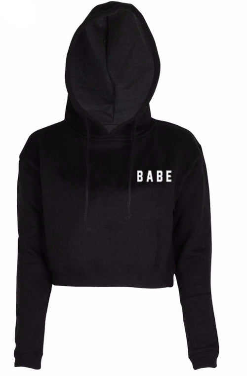 Babe Cropped Pullover Hoodie Sweatshirt | Shop Elettra |