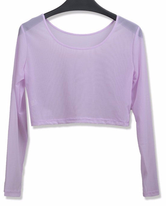 Sheer Long Sleeve Crop Tee | Shop Elettra |