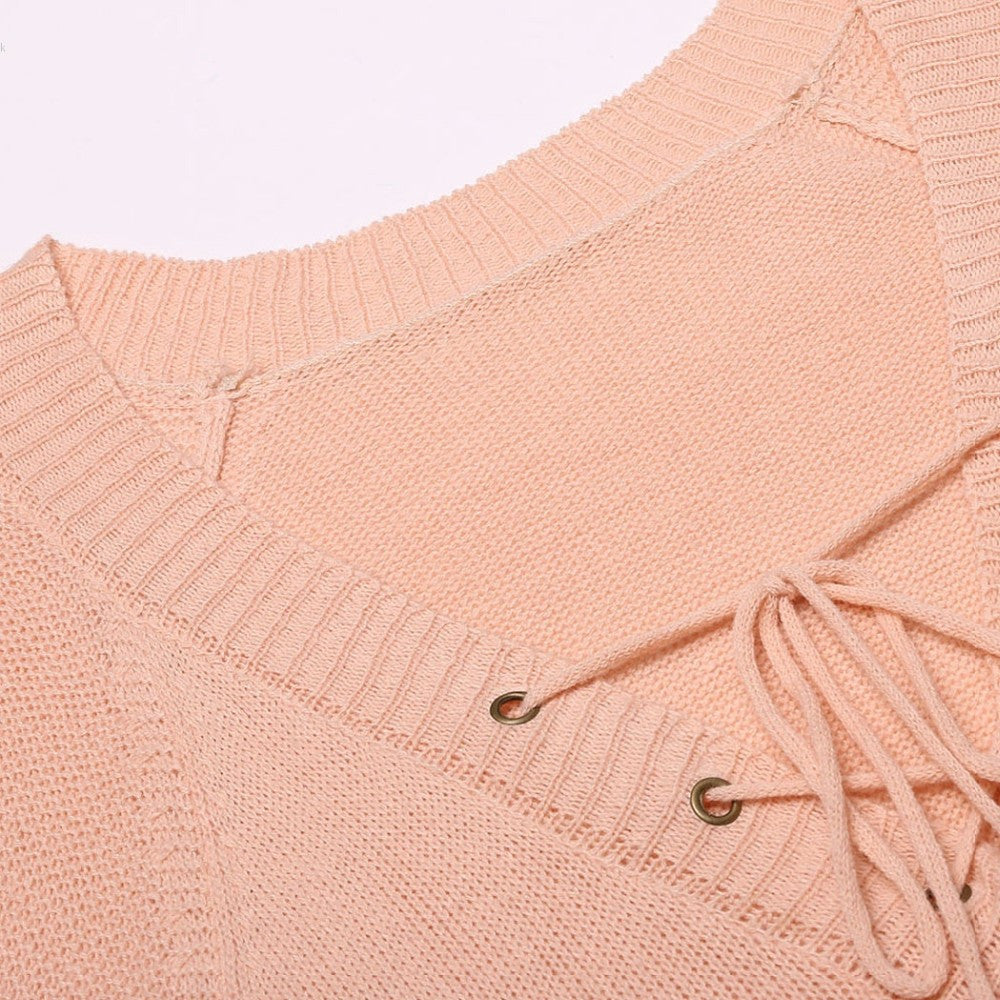 Sherri Lace Up Tie V Neck Pullover Sweater | Shop Elettra |