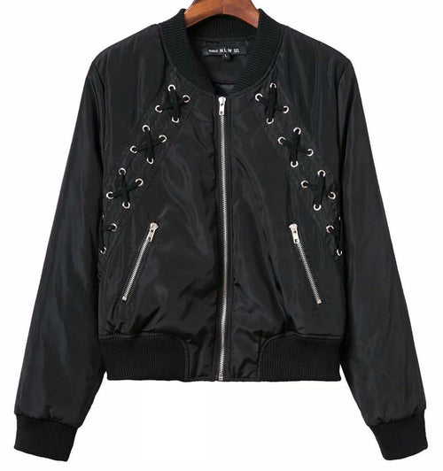 Black Lace Up Bomber Jacket | Shop Elettra |