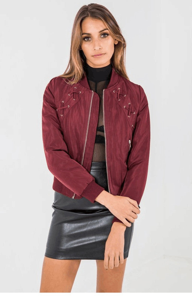 Red Lace Up Bomber Jacket | Shop Elettra |