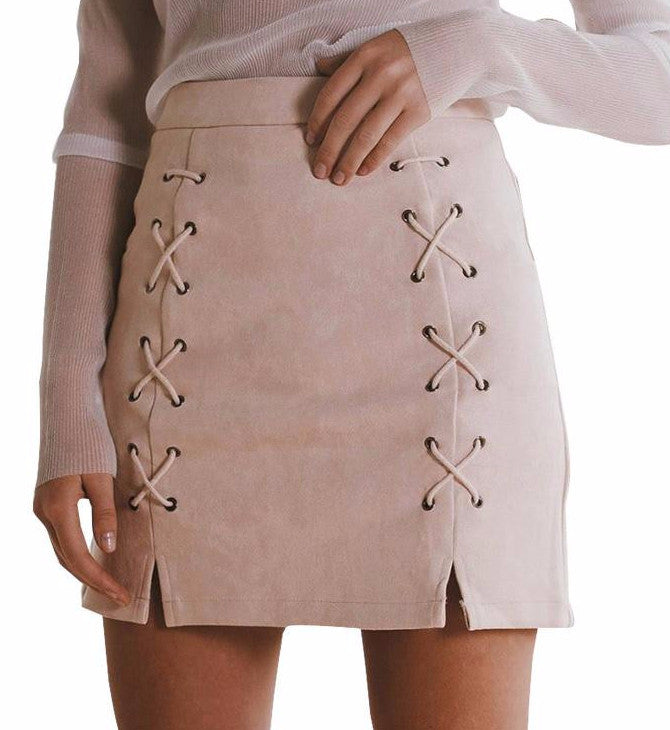Toni Lace Up Suede Slit Skirt - Shop Elettra - 1