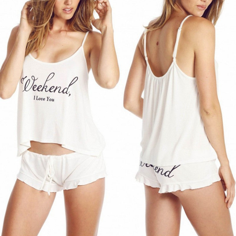 Flirty Flow Tank Ruffle Short Pajama Set | Shop Elettra |