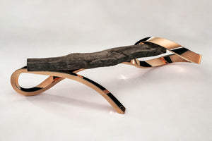COPPER & BRONZED OAK BENCH. Shop and Give Back to the Rainforest Trust. - [Epicurus Life]