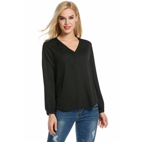 V Neck Solid Loose Long Sleeve Blouse