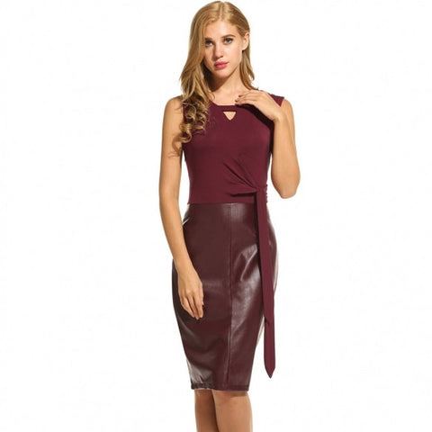 ce2427df92d Women Sexy Faux Leather Accent Sleeveless Tie-Front Dress – True Queen