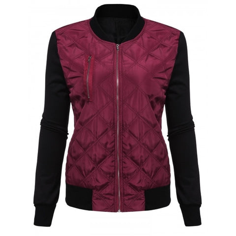 Patchwork Slim Quilted Bomber Jacket