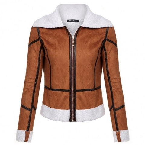 Casual Turndown Long Sleeve Patchwork Cotton Short Jacket