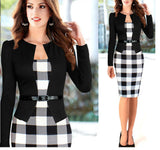 Elegant Business Suits 3/4 Sleeve Knee Length Pencil Dress S-4XL