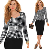 2 Piece Long Sleeve Plaid Business Suit