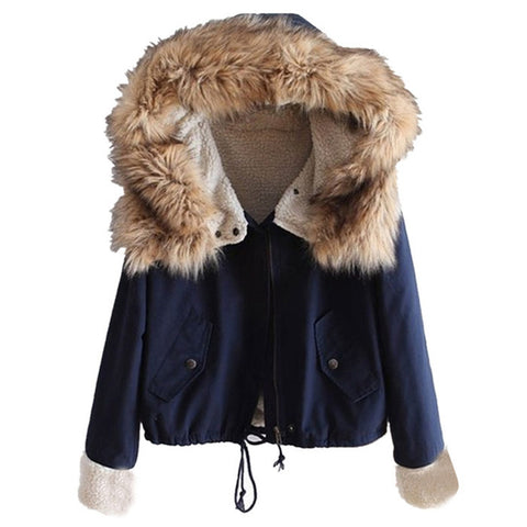 Faux Fur Long Sleeve Hooded Drawstring Coat