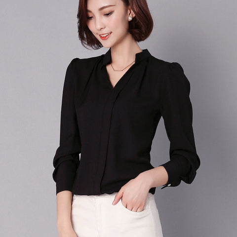 Solid Blouse V-neck Ruched Long Sleeve