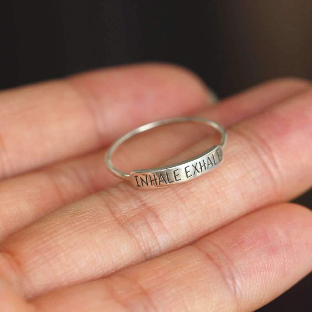 INHALE EXHALE ring,sterling silver bar ring,Yogi inspired jewelry