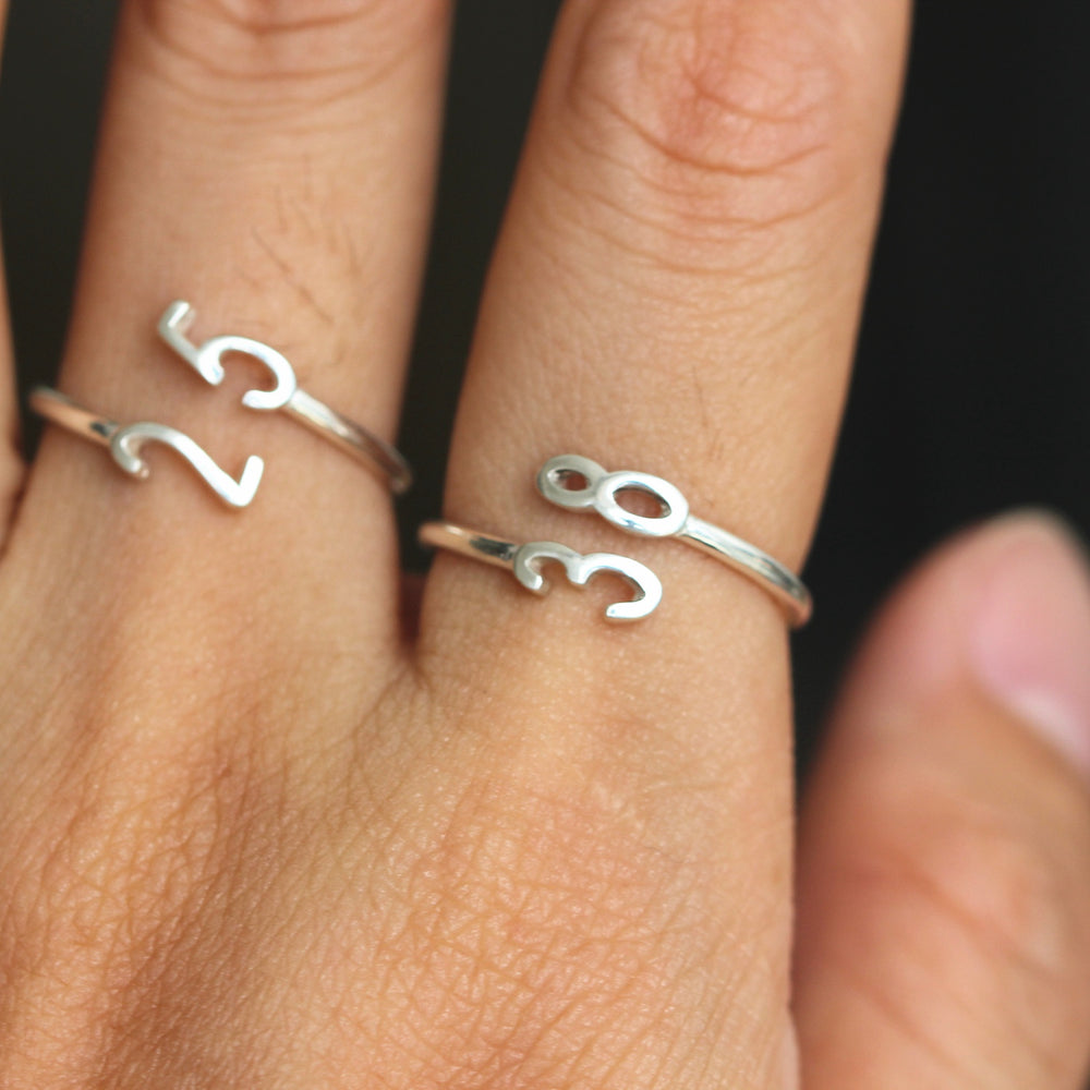 Load image into Gallery viewer, over 100 - Custom Number Ring,Personalized Number Ring,sterling silver dainty adjustable jewelry,lucky number bridesmaids gifts