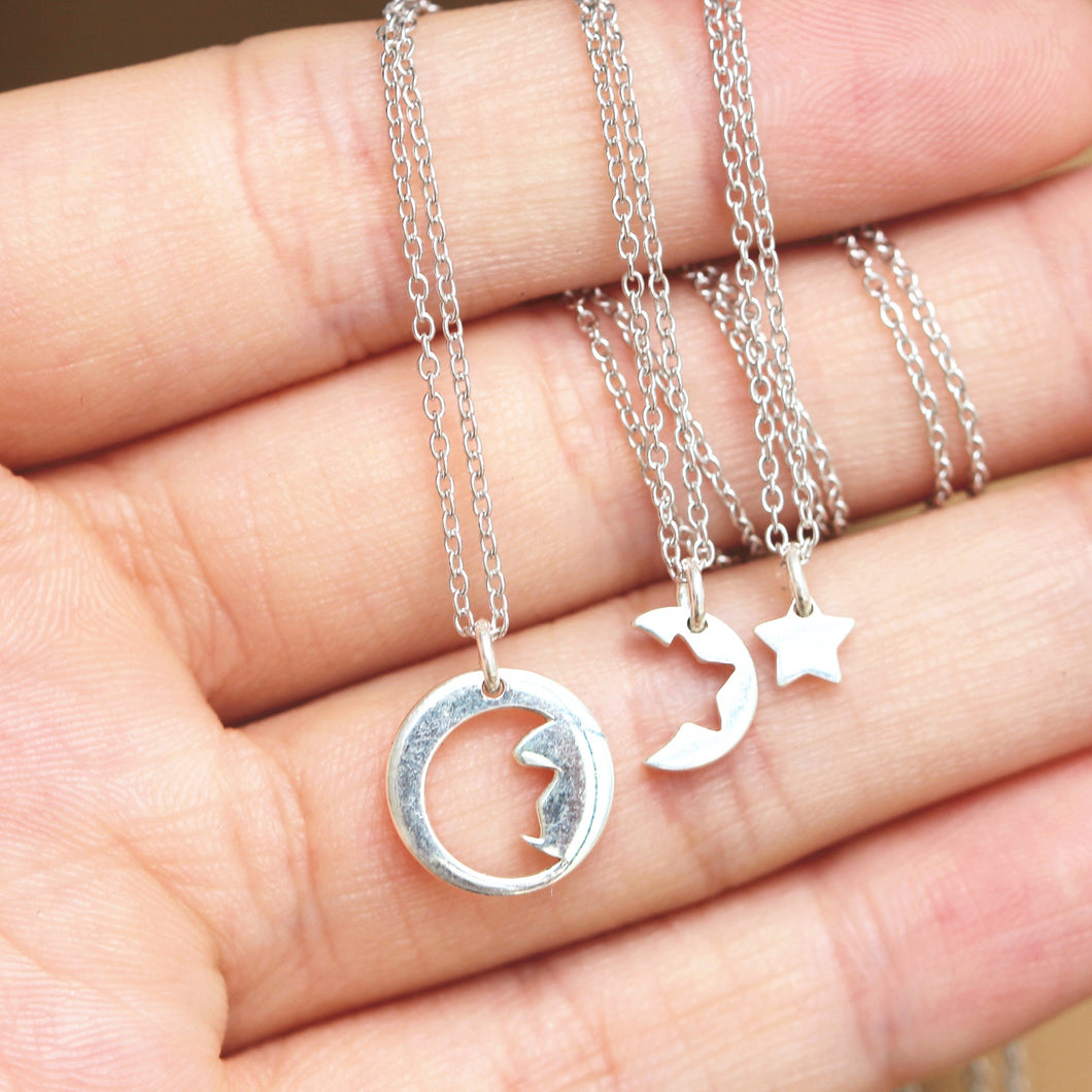 Set of 3, sun necklace,moon necklace,star necklace,dainty silver jewelry,sterling silver famliy necklace,simple jewelry