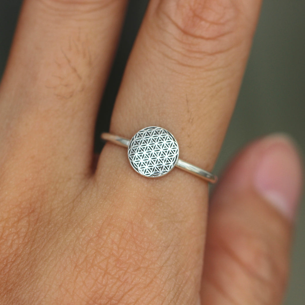 Flower Of Life ring,solid 925 sterling silver Sacred Geometry Ring,Seed of Life Ring,Mandala ring,statement ring,circle jewelry
