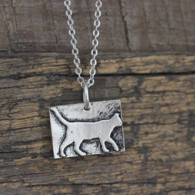 925 Sterling Silver Cat Charm  HALLOWEEN CAT NECKLACE Meow Pet Jewelry