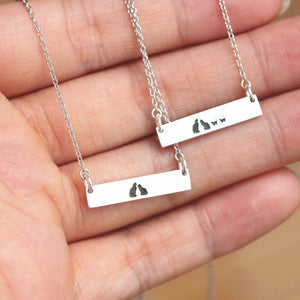 Load image into Gallery viewer, Custom family cat necklace,sterling silver Pet lover Necklace,personalized cat jewelry,cat lover gift,silver bar necklace,gift idea