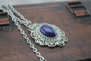 antique silver Vitorian Lapis lazuli necklace Celtic symbols, Lapis necklace, Beaded Necklace