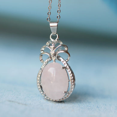 Rose Quartz Necklace Cabochon Oval in Hoop