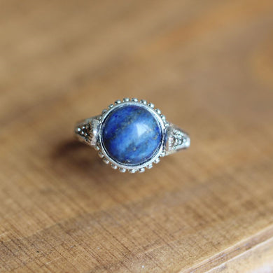 Lapis lazuli ring in silver Lapis ring woman jewelry nature rings gift idea for her