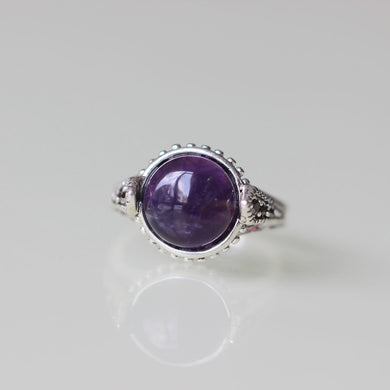 fashion style antique silver ring Amethyst ring jewelry lady gift for birthday Victoria pattern