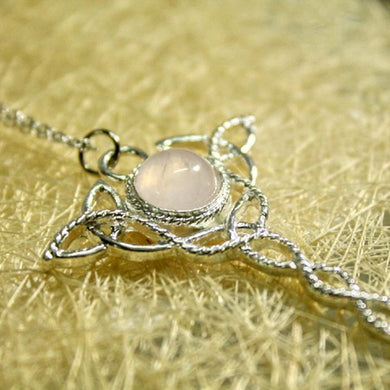 Celtic Trinity Knot necklace Rose Quartz,Celtic Wedding,Rose Crystal,Pink Crystal,Rose Crystal