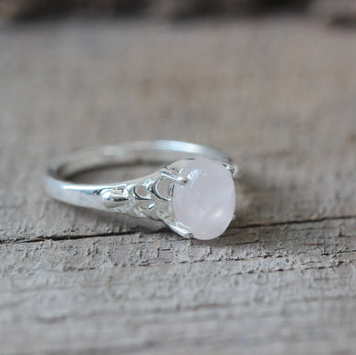 tiny natural stone Rose Quartz rings