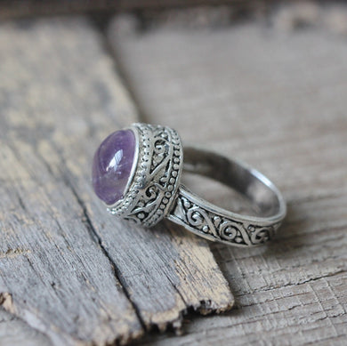 Round Purple Genuine Amethyst ring Celtic Knot Triquetra Endless Eye Ring