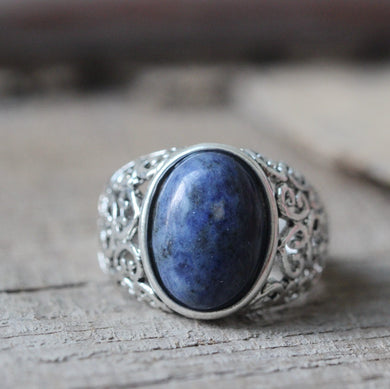 Lapis lazuli ring Lapis necklace Victorian style party,wedding,spring,summer gift.blue gem,for her gift