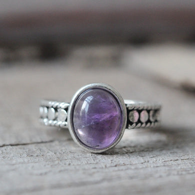Amethyst ring antique style elegant jewelry gift idea , wedding ,party, summer gift,for mom