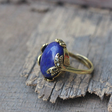 Gorgeous jewelry oval Lapis Ring, adjustable rings, leave rings,Lapis lazuli ring,handmade jewlery