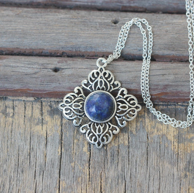 Lapis lazuli necklace antique jewelry Victorian style party Christmas gifts